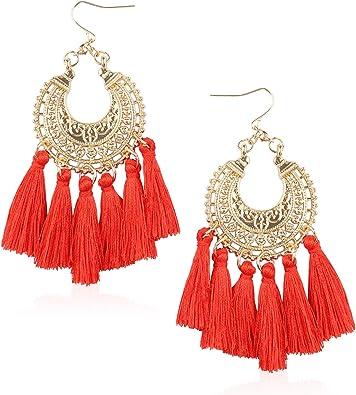 Fashion Long Tassel Crystal Statement Drop Gold Toned Stud Hook Earrings Gift