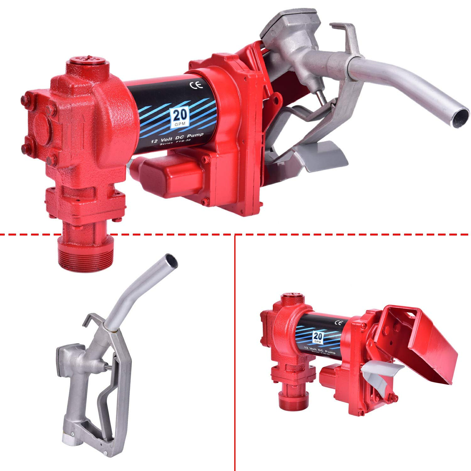 Red CLIENSY Gasoline Fuel Transfer Pump 12 Volt DC 20GPM Gas Diesel Kerosene Extractor Pump with Hose and Nozzle Kit
