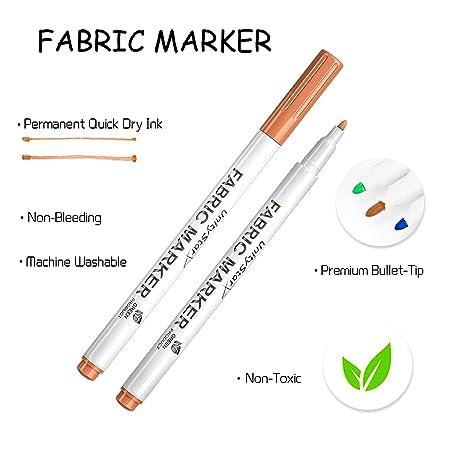 Tela Marcadores, unitystar 24 colores tela pintura bolígrafos con punta fina y permanente colores para camiseta ropa zapatos de lona, bolsas, ...