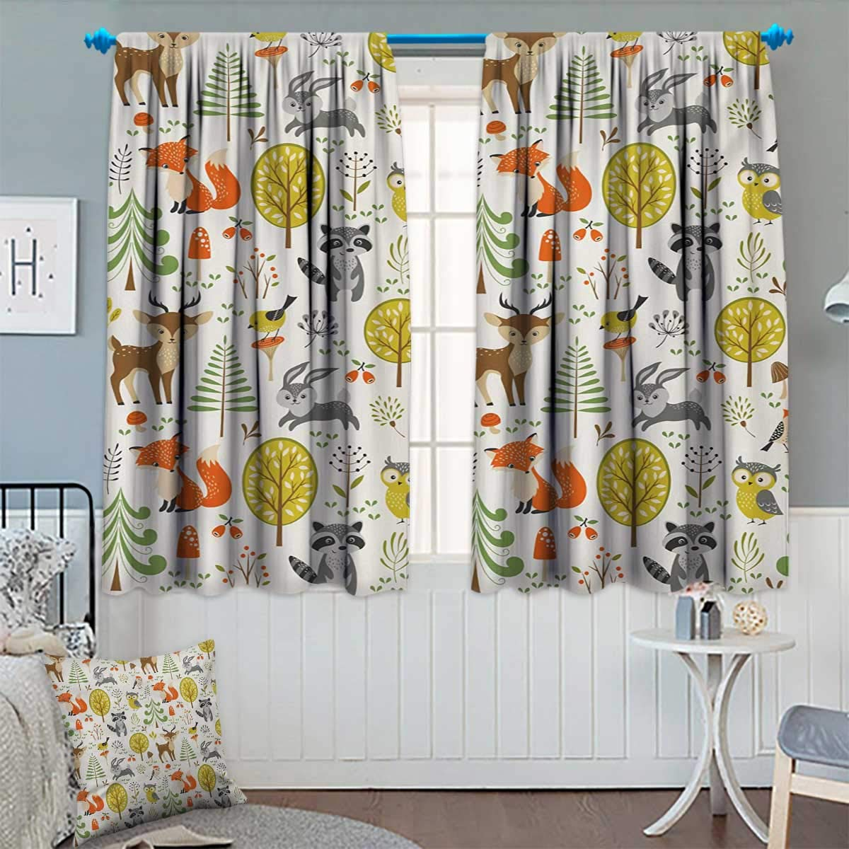 Chaneyhouse Animals Room Darkening Curtains Woodland Forest Animals Trees Birds Owls Fox Bunny Deer Raccoon Mushroom Print Decor Curtains by 55'' W x 45'' L Multicolor