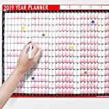 2019 A1 Laminated Yearly Wall Planner Calendar With Wipe Dry Pen & Sticker Dots