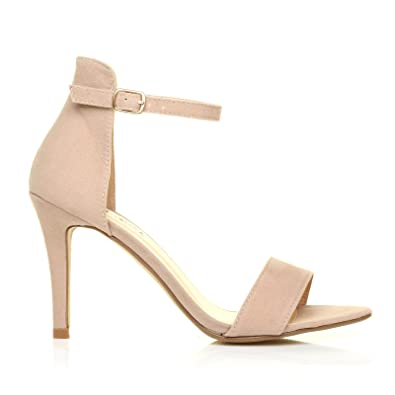 PAM Nude Suede Ankle Strap Barely There High Heel Sandals: Amazon ...