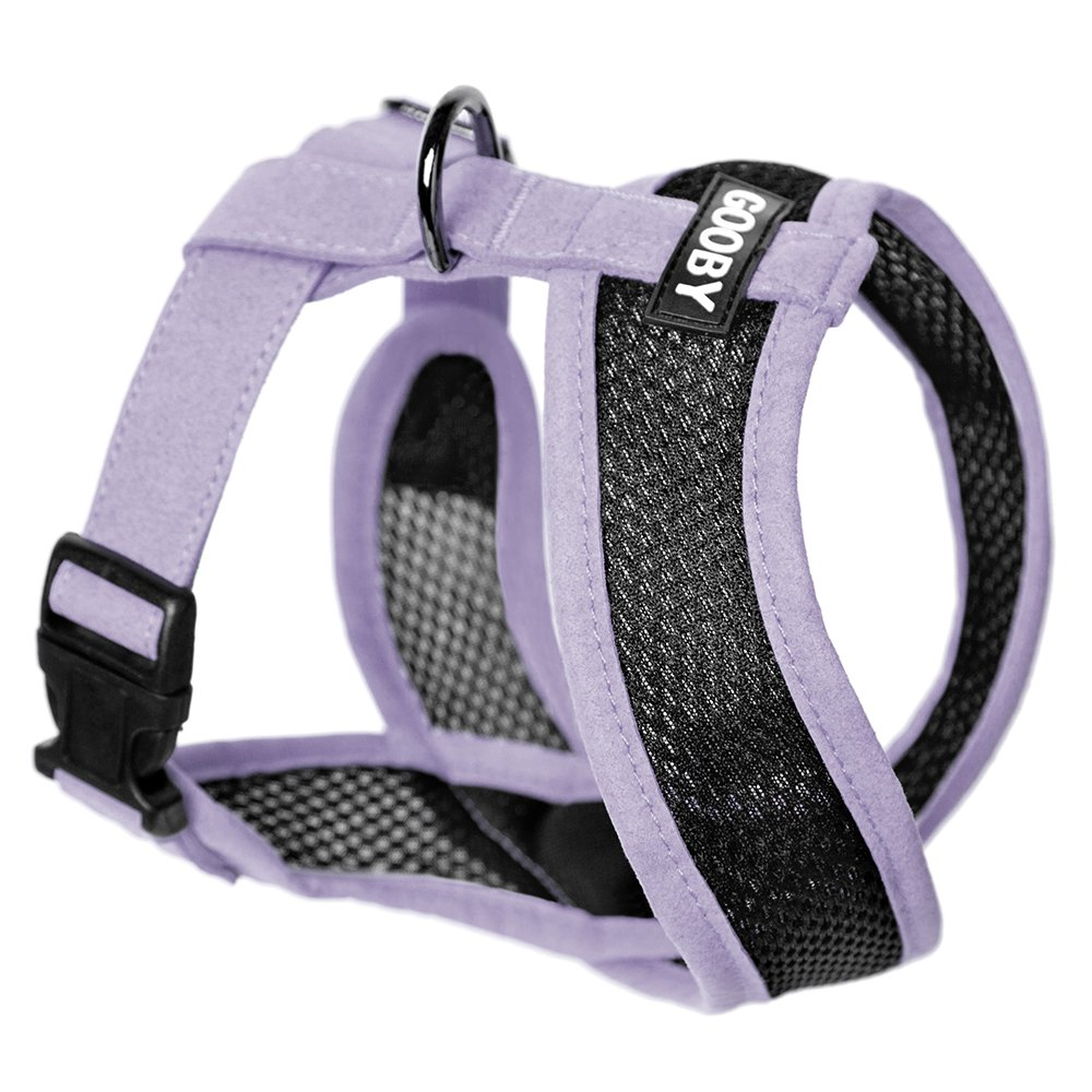 Gooby Choke Free Active X Head-In Synthetic Lambskin Soft Harness Small Dogs, Purple, Medium