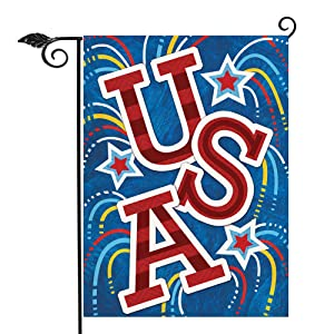 Hzppyz USA Garden Flag Firework Stars, Decorative House Yard Outdoor Small Welcome Flag Double Sided, July 4th Holiday Outside Decorations Spring Summer Seasonal American Patriotic Home Decor 12 x 18