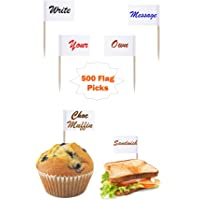 500 White Flag Picks Write On / Colouring Sandwich / Food / Cup Cake Canapé Flag On Own Message Party BBQ Cocktail Stick