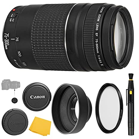 Canon EF 75-300mm f/4-5 6 III Lens + UV Filter + Collapsible Rubber Lens  Hood + Lens Cleaning Pen + Lens Cap Keeper + Cleaning Cloth - 75-300mm III: