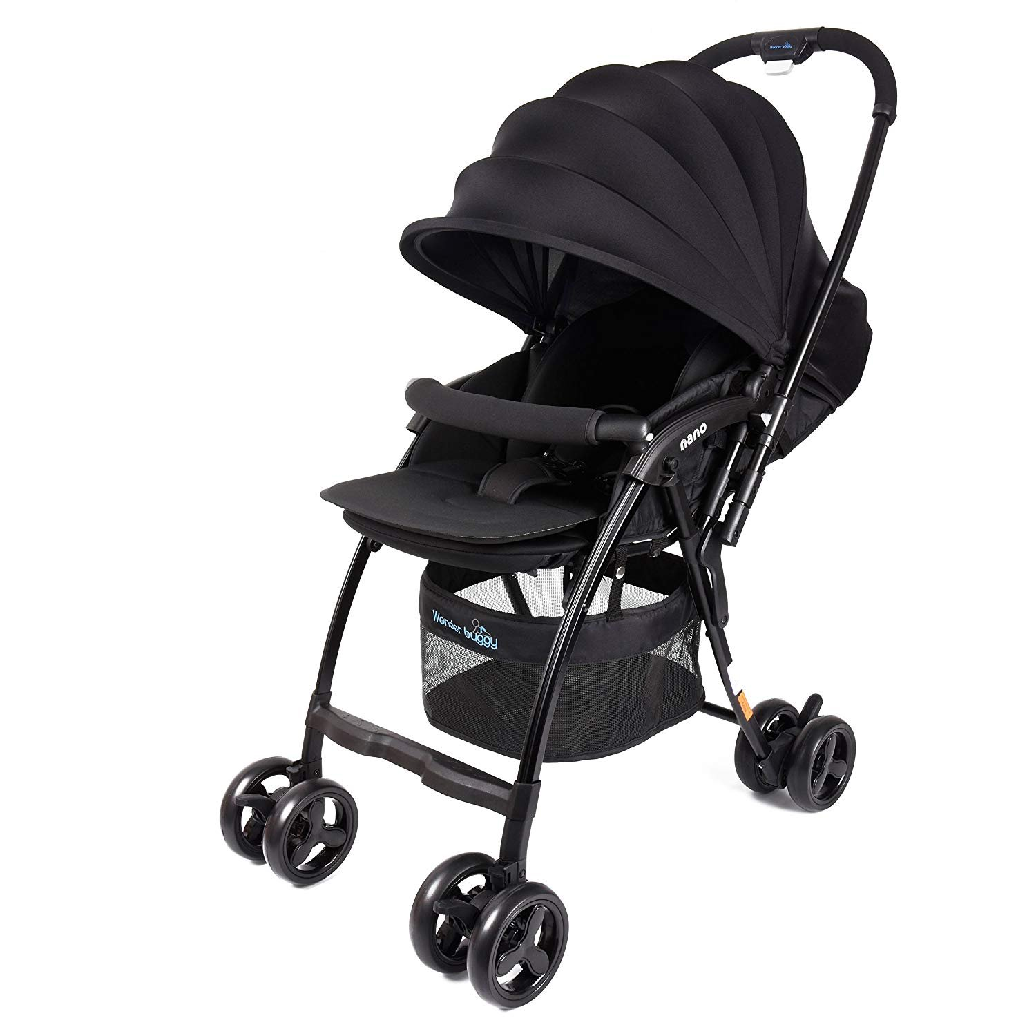 WonderBuggy Nano Lightweight Baby Stroller with Reversible Handle, Easy Foldable and Collapsible (Black)