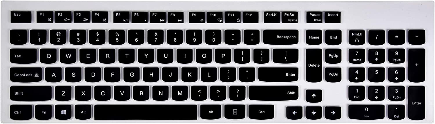 Keyboard Cover Compatible with Lenovo 510 Wireless Keyboard GX30N81775, Lenovo 4X30M39458 Wireless Keyboard, Lenovo Wireless Keyboard Cover - Black