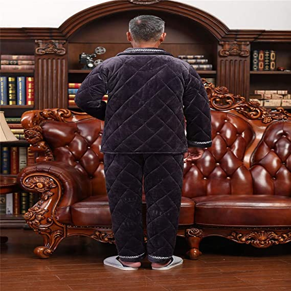 Lonimor Men Pajamas Autumn Winter Models Thickened Flannel Home Clothes Suit