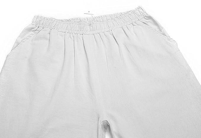 Minetom Pantalon Large à jambes et Fluides pour Femmes Confortable  Elastiqué Grande Taille 3 4 Longue Coton Lin Yoga Pants Palazzo Sarouel   Amazon.fr  ... 119607981181
