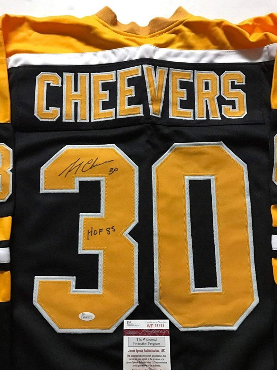 Autographed/Signed Gerry Cheevers'HOF 85' Boston Black Hockey Jersey JSA COA