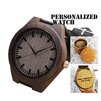 amazon com engraved bamboo watch personalized wooden watch handmade