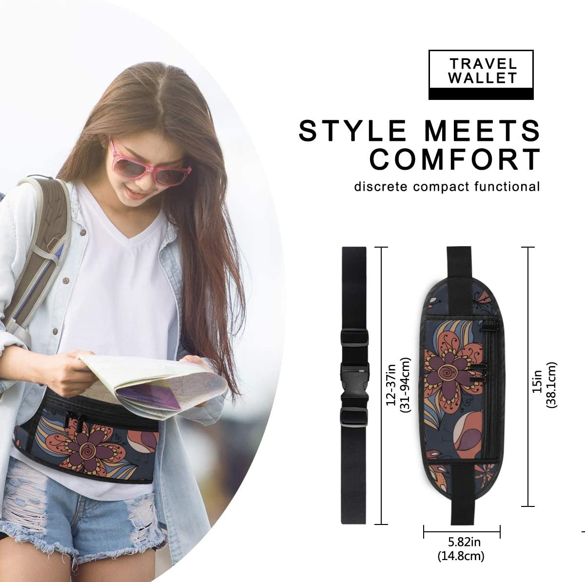 Travel Waist Pack,travel Pocket With Adjustable Belt Texture Flowers Birds Endless Floral Running Lumbar Pack For Travel Outdoor Sports Walking
