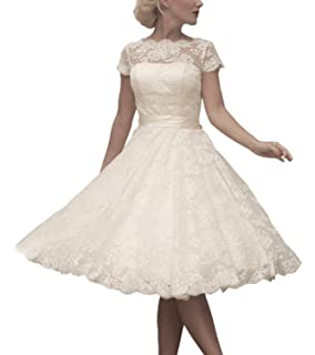 c33d82c567e ABaowedding Women s Floral Lace Knee-Length Short Wedding Dress Bridal Gown