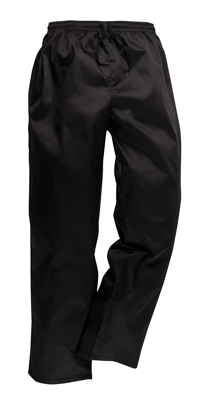 Portwest - Drawstring Workwear Trousers Black 26-28' Waist - 33' Leg C070BKTXXS