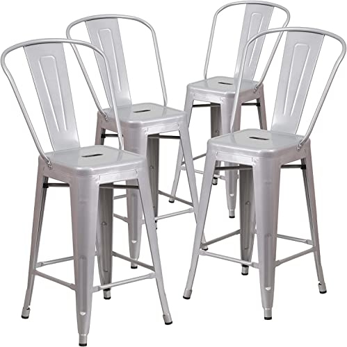 BELLEZE 4-PC 24 High Silver Indoor-Outdoor Counter Height Stool with Back