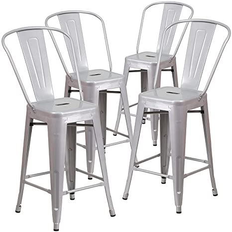 Super Belleze 4 Pc 24 High Silver Indoor Outdoor Counter Height Stool With Back Lamtechconsult Wood Chair Design Ideas Lamtechconsultcom
