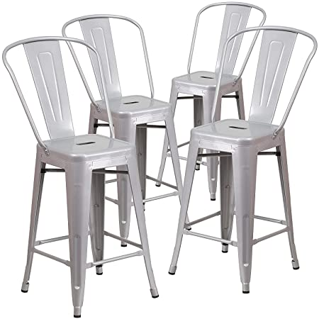 Belleze Indoor Outdoor Barstool Stool with High Backrest Bar Counter Height Kitchen Home 4 Pack , 30 -inch, Grey