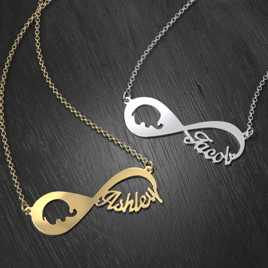 Sterling Silver Remember Me Personalized Infinity Name Necklace by JEWLR