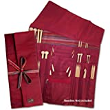 della Q Combo Knitting Case for Straight & Double Point & Circular Knitting Needles; 004 Red Stripes 101-1-004
