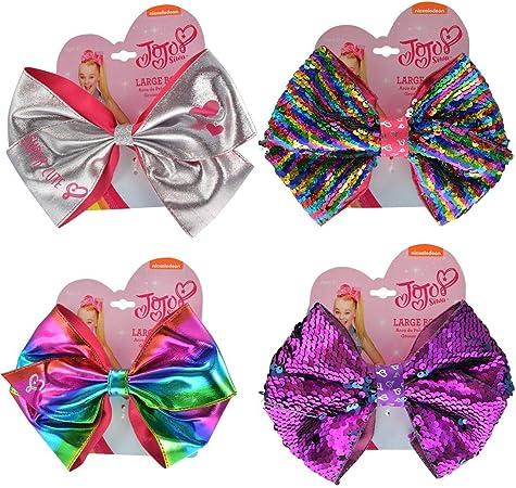 Nickelodeon Jojo Siwa Girls Ponytail Holder Rainbow Metallic Hair Bow