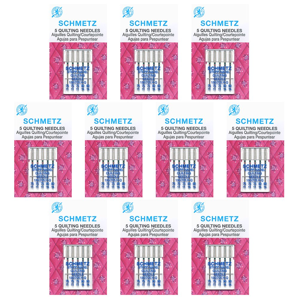 50 Schmetz Quilting Sewing Machine Needles -  Assorted sizes - Box of 10 cards by Schmetz