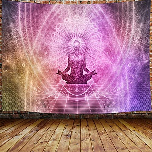 Chakra Large Tapestry, Trippy Meditation Yoga Hippie Tapestry Wall Hanging for Bedroom, Psychedelic Mandala Purple Tapestry Beach Blanket College Dorm Home Decor 90 W X 70 H