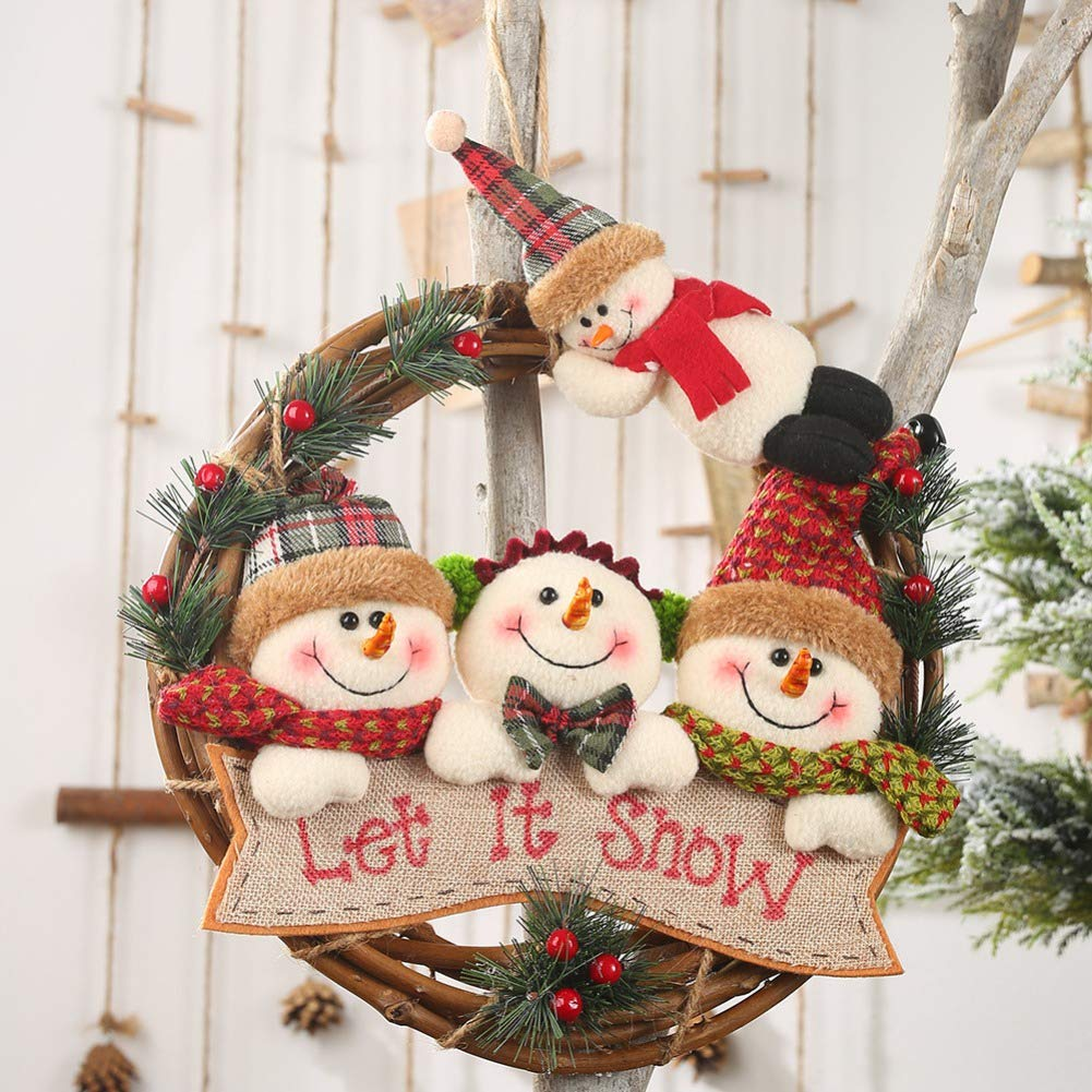 Angmile Christmas Rattan Wreath with 4 Flannel Cute Plush Christmas Dolls Door Decor Pendant Front Garland Christmas Holiday Decoration