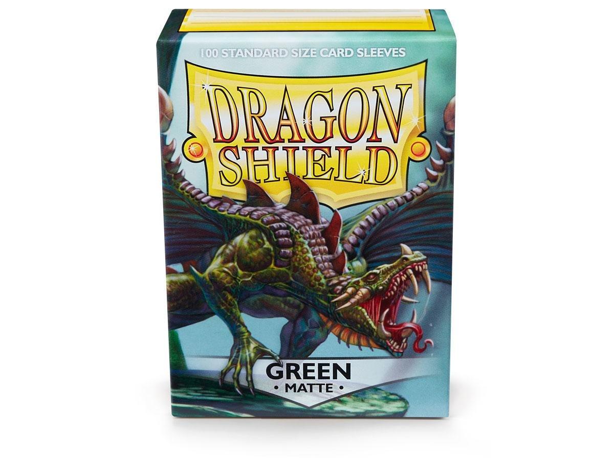 10 Packs Dragon Shield Matte Green Standard Size 100 ct Card Sleeves Display Case