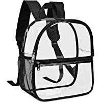 Clear Mini Backpack Stadium Approved, Water proof Transparent Backpack for Work & Sport Event… (black)