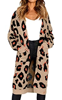 df829cdbb82b Angashion Women s Long Sleeves Leopard Print Knitting Cardigan Open ...