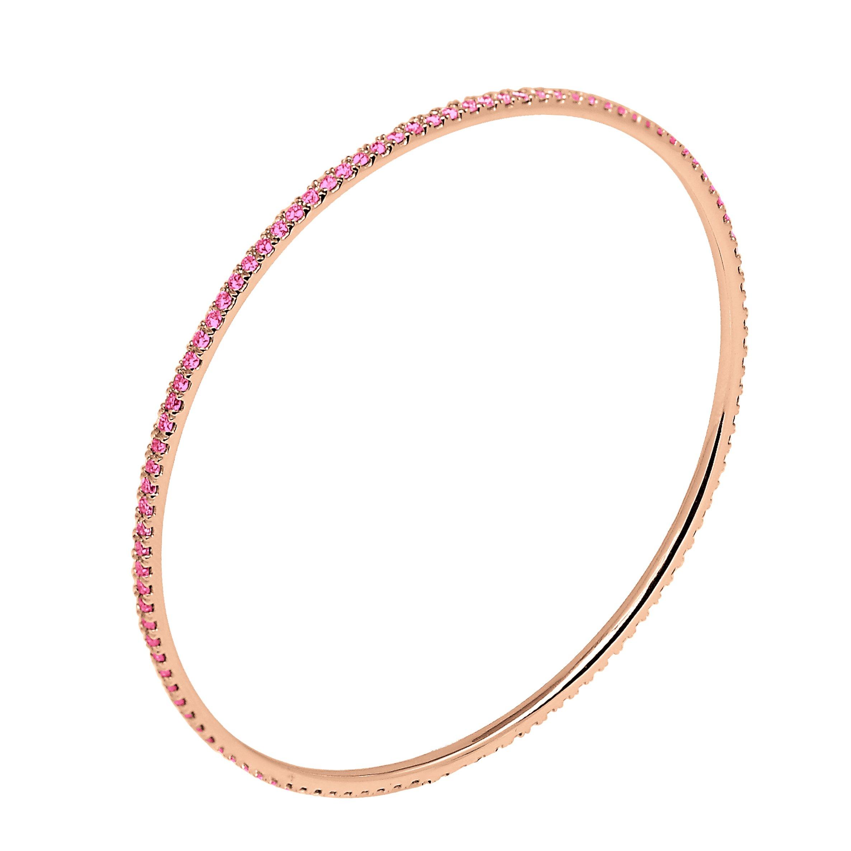 18K Rose Gold 2.50 Carat (ctw) Natural Real Round Cut Pink Sapphire Bangle Bracelet For Women