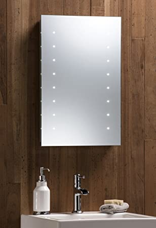 LED Battery Bathroom Mirror Illuminated 60cm X 40cm Easy Installation Hangs Both Ways Aluminium Frame With