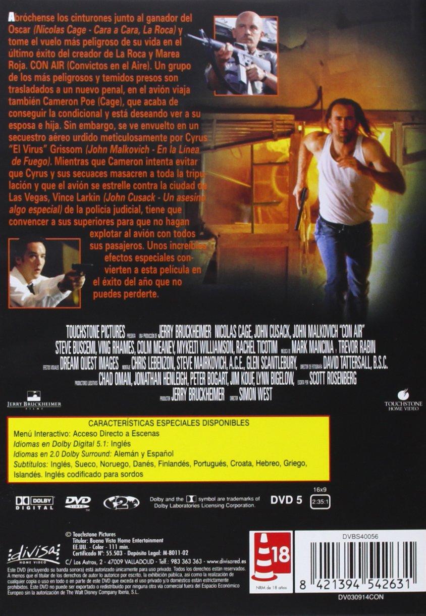 Con air (Convictos en el aire) [DVD]: Amazon.es: Nicolas Cage, John Cusack, John Malkovich, Steve Buscemi, Ving Rhames, Colm Meaney, Simon West: Cine y ...