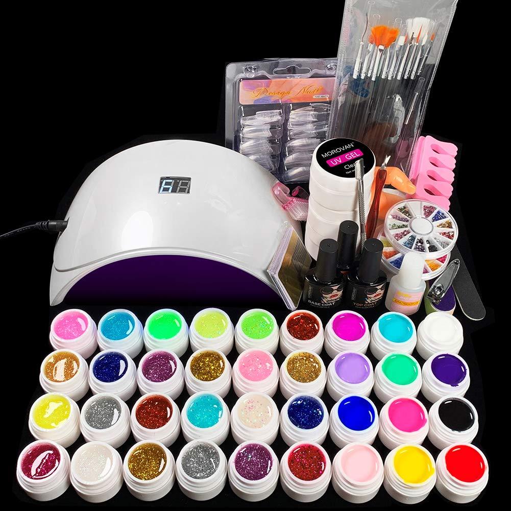 24W LED Lamp and 36 Colors UV Gel Nail Polish Nail Art Tools Set Building Kit …