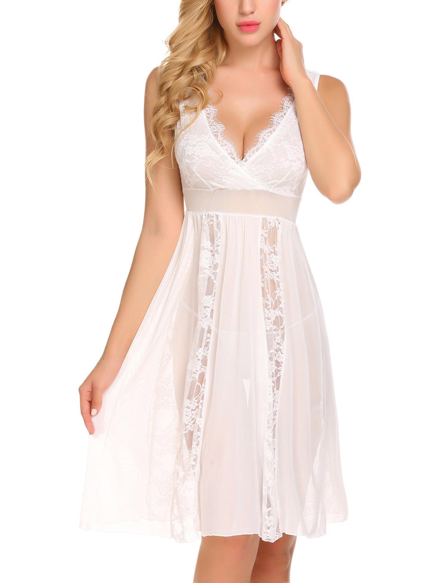 Jiareet Women's Lace Mesh V-neck Lingerie Nightdress Sheer Gown Chemise G-string(White M)