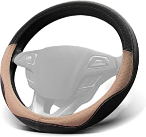WinPower Car Steering Wheel Cover Microfiber Leather Universal 15 inch for Car Truck SUV,Beige