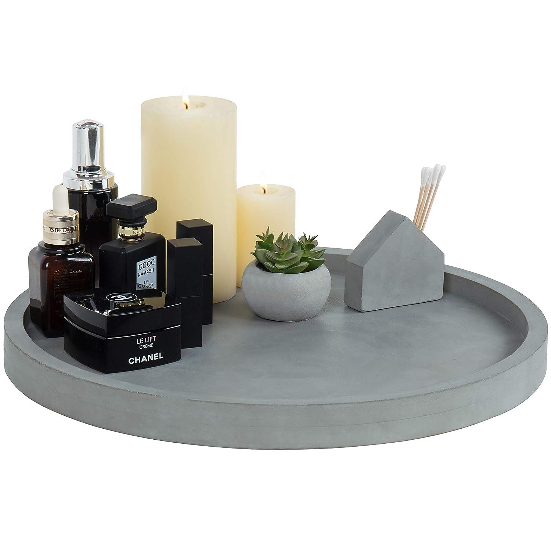 MyGift 16-Inch Concrete Grey Round Vanity Tray