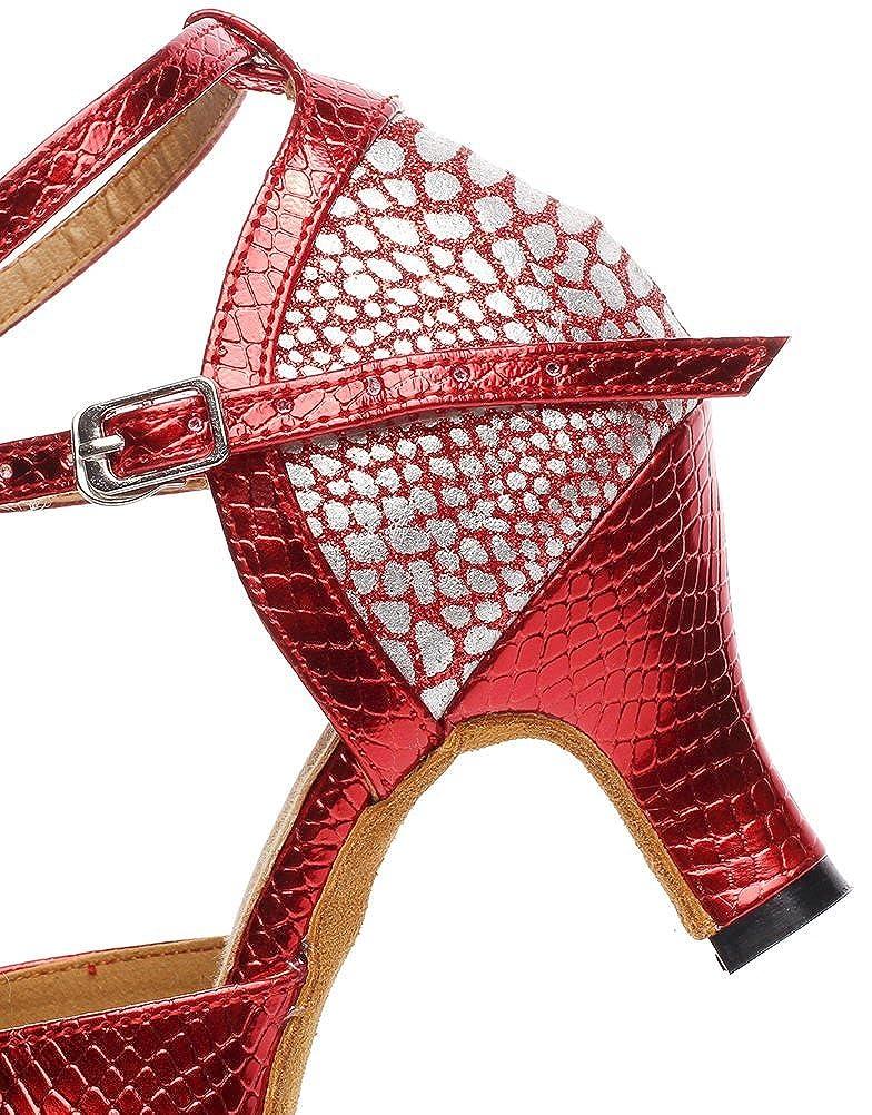 Abby Womens Latin Salsa Tango Cha-Cha Party Mid Heel Round-Toe PU Dance-Shoes
