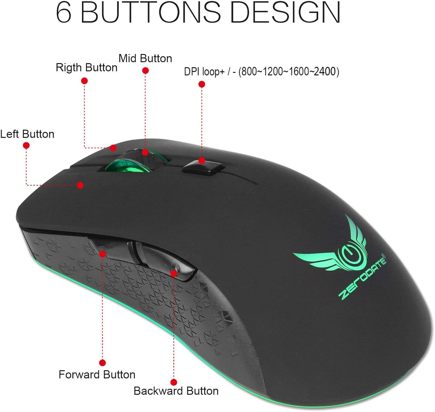 2400//1600//1200//800Dpi Adjustable USB Wireless Rechargeable Mouse for PC//Laptop//Mac JAY-LONG 2.4G High Precision Optical Mouse//Gaming Mouse with Colorful Lights