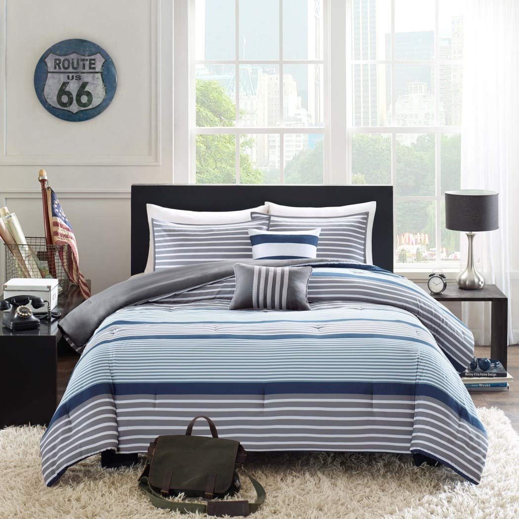 D&H 4 Piece Boys Navy Blue White Grey Stripes Comforter Twin/Twin XL Set,  Horizontal Gray Striped Bedding Rugby Stripe Sports Themed Nautical Pattern  Modern ...