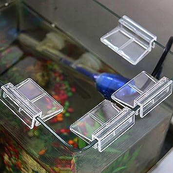 SDYDAY - Juego de 4 Pinzas para acuarios y peceras, con Soporte para Tapa de Cristal, Clips Transparentes, Show, 6 mm: Amazon.es: Hogar