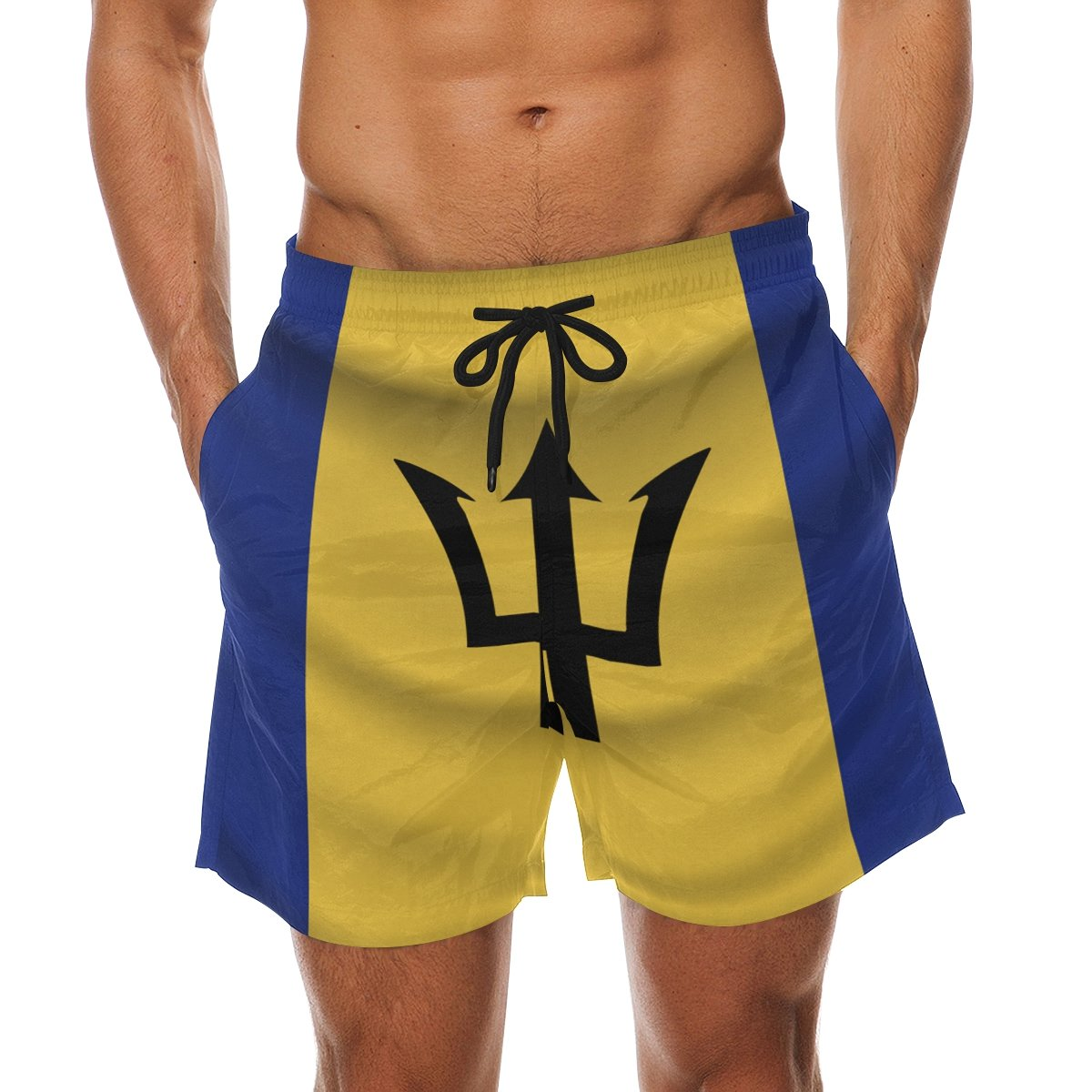 CoolPrintAll Barbados Flag Men's Swim Trunks Beach Shorts with Pockets