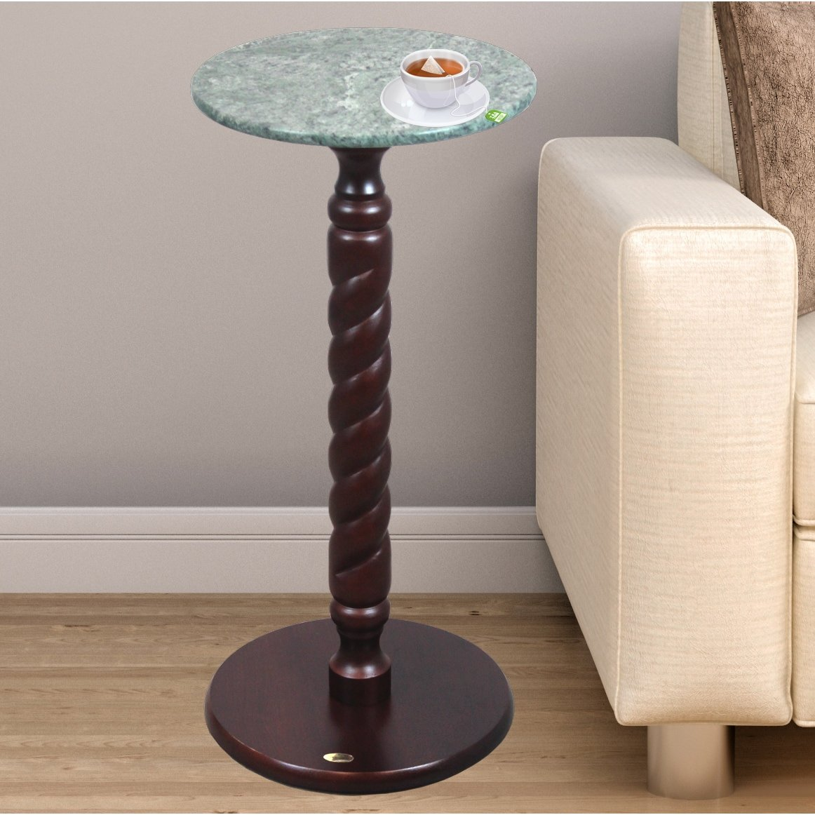 Uniquewise Solid Wood Round Table, Side Table with Green Marble Top