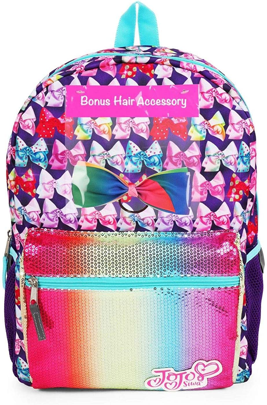 """JoJo Siwa Full Size Sparkly 16/"""" Backpack Bows are my Superpower Hair Bow"""
