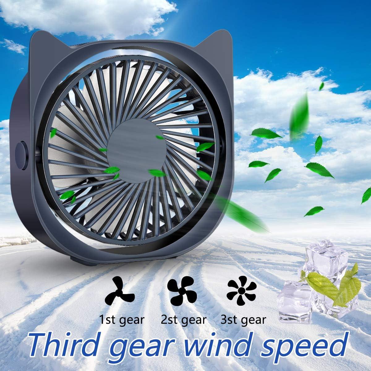 Voyage Sport Mini Table Ventilateur Ventilateur R/églable /à 360 /° pour Camping Portable Ventilateur Silencieux 3 Vitesse R/églable Aliment/é par USB Mini Ventilateur Bureau Ventilateur USB