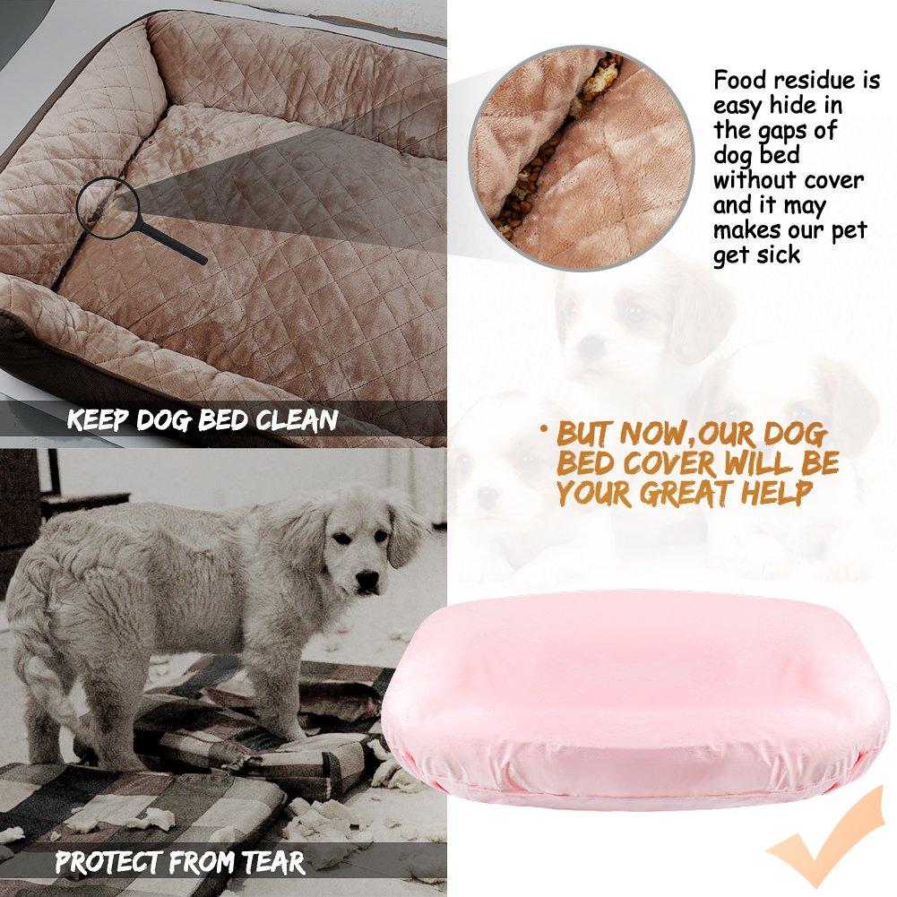 Funda de cama para mascotas, práctica funda 100 % lavable, a prueba de arañazos, antideslizante, universal para la mayoría de las camas para perros, ...
