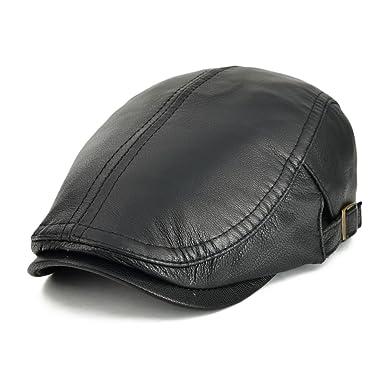 VOBOOM Men Women Adjustable Genuine Leather Ivy Cap Newsboy hat 121 (Black) a206ad02278