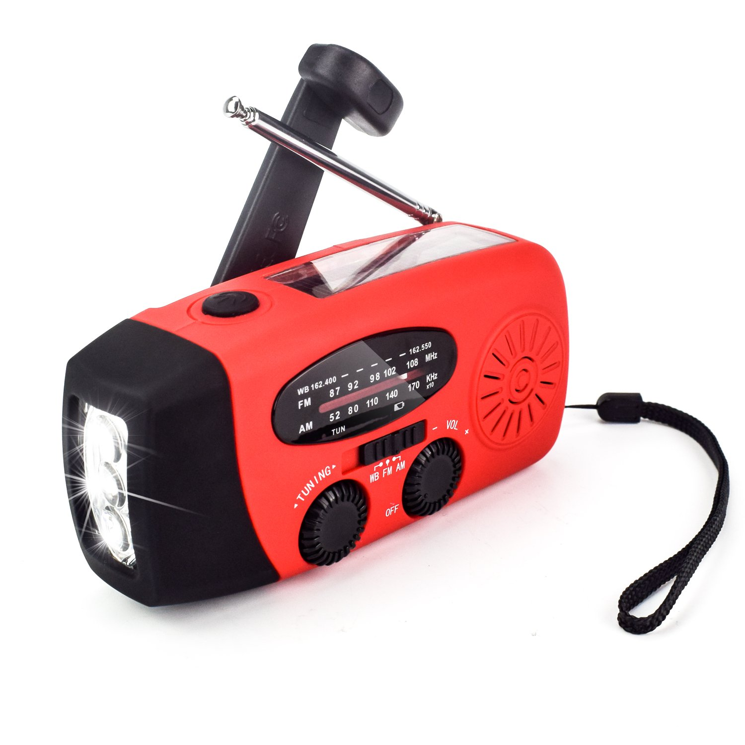 PerryLee AM/FM/WB Radio, Portable Outdoor Emergency Solar Radio, Hand Crank Self Powered Phone Charger 1000mAh Power Bank with Cable & 3 LED Flashlight Electric Torch Dynamo Bright Lighting Lamp
