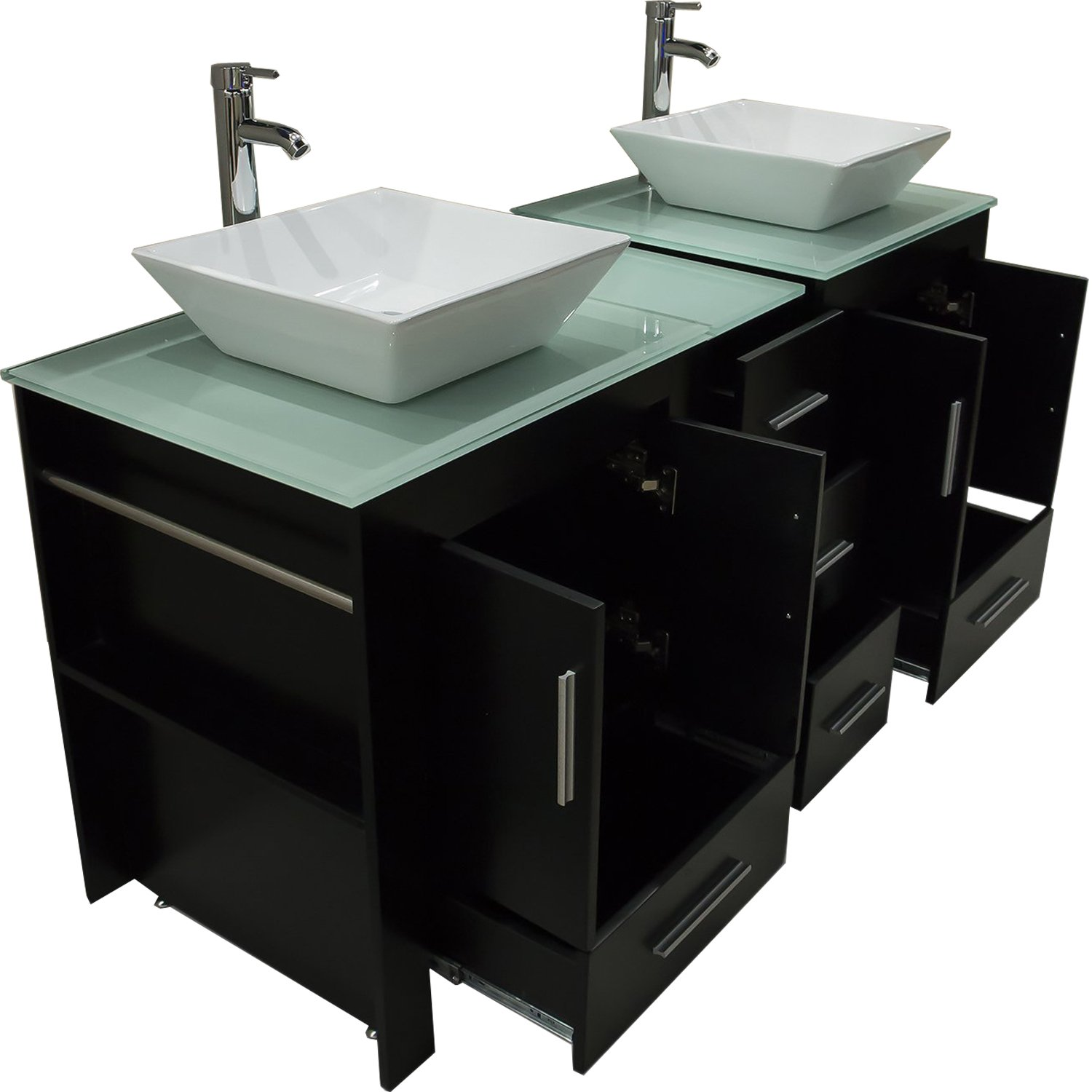 Walcut Luxury 60'' Modern Double Ceramic Sink Solid Wood Bathroom Vanity Cabinet With Mirror And Tempered Glass Table Board by WALCUT (Image #5)